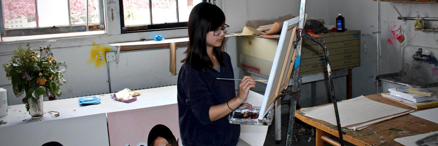 CCS Art student Allison Young in her studio. Credit: Will Proctor